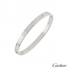 Cartier White Gold Full Diamond Love Bracelet Size 19 B6040719